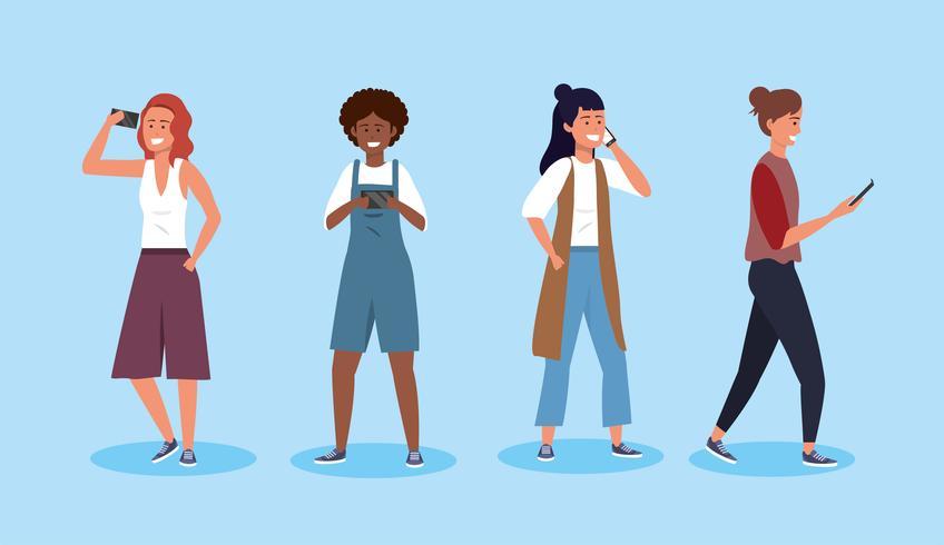 Uppsättning av unga olika kvinnor med smartphones vektor