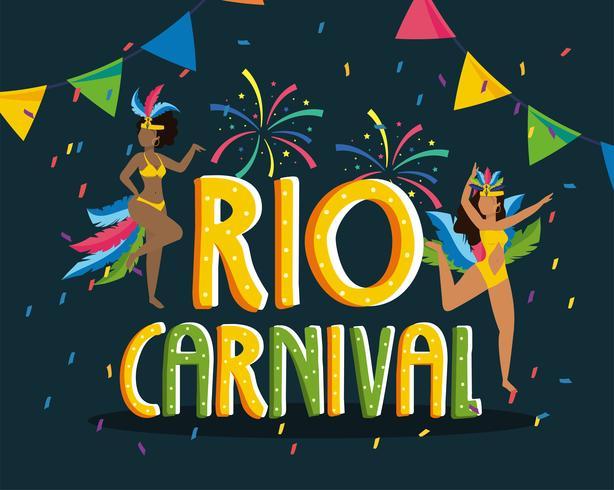 Rio karnevalsaffisch med kvinnliga dansare på svart bakgrund vektor