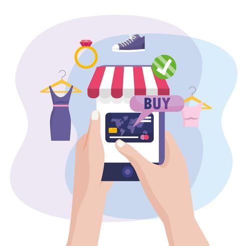 Hände, die das Smartphoneeinkaufen für Kleidung halten vektor