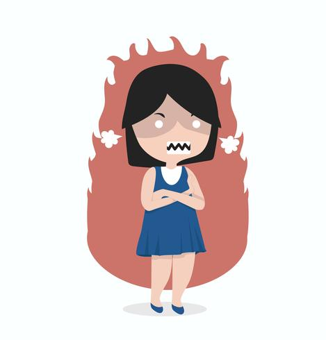 Liten flicka arg ställning med vikta armar vektor