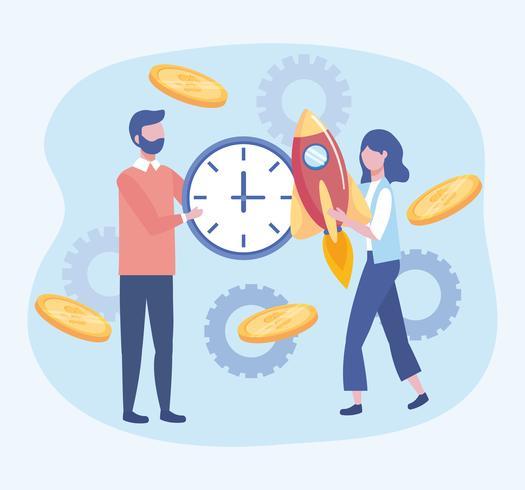Geschäftsfrau und Geschäftsmann mit Uhr und Rakete vektor