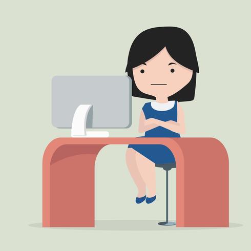 kvinna sitter på arbetsplatsen vektor