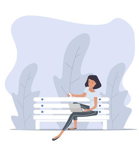 kvinna sitter bänk med anteckningsbok i naturen vektor