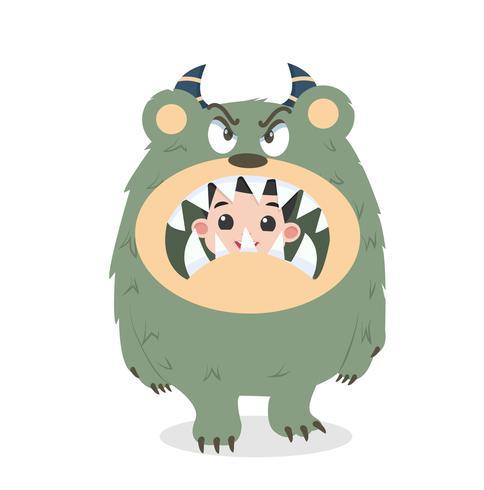 Söt unge Halloween-karaktär i arg gullig monsterdräkt vektor