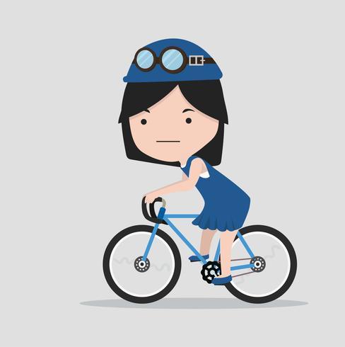 Liten flicka med en cykel vektor