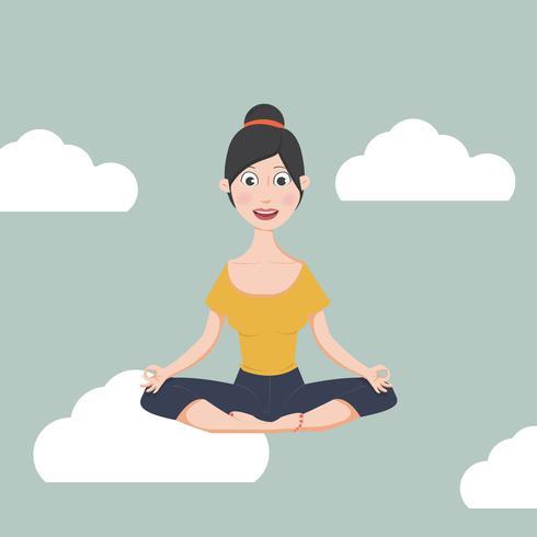 kvinna mediterar i platt design vektor