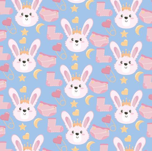 Nahtloser Babypartygeschenkhintergrund mit rosa Kaninchen und Socken vektor