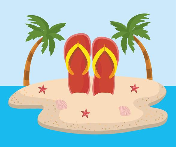 Flip flops i sanden på ön med palmträd vektor