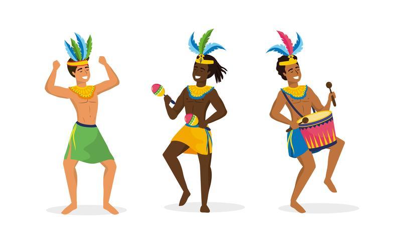 Satz männliche Karnevalstänzer im Kostüm vektor