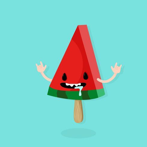 tecknad vattenmelonskiva vektor