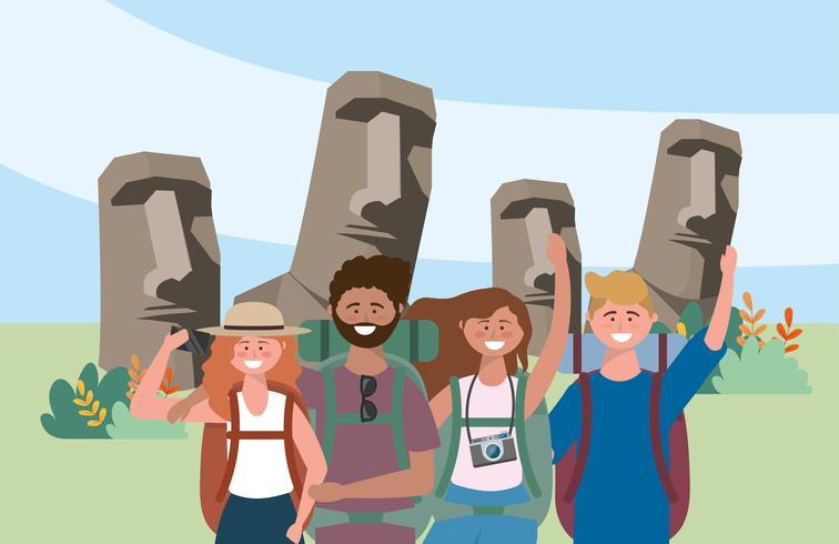 Gruppe Mann- und Frauentouristen vor Osterinselstatuen vektor