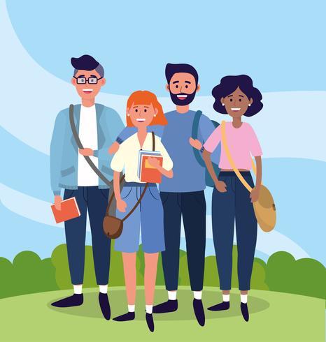 Universitetsstudenter med böcker och ryggsäckar vektor