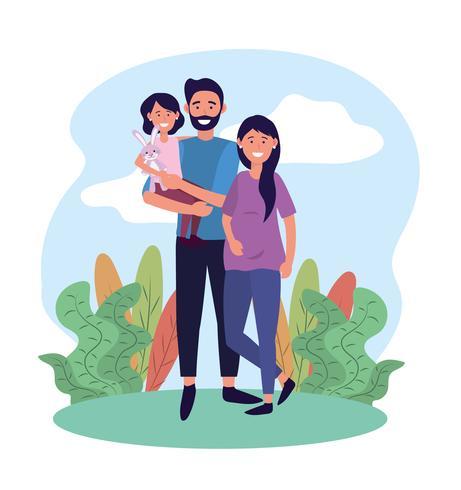 Lyckligt par med dotter vektor