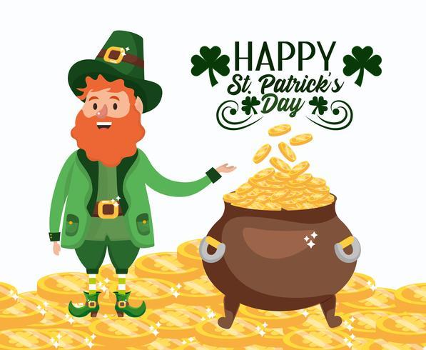 St Patrick Man med guldmynt inuti kitteln vektor