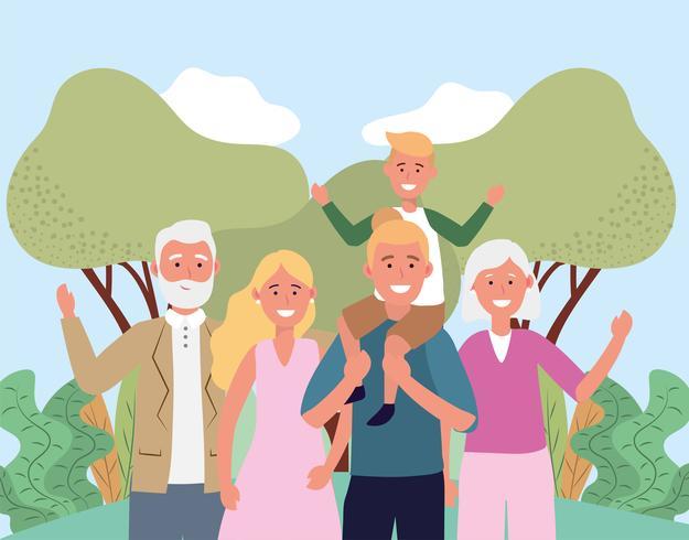 Söt familj med morföräldrar vektor