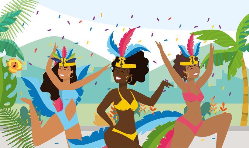 Kvinnliga karnevaldansare med konfettier på gatan vektor