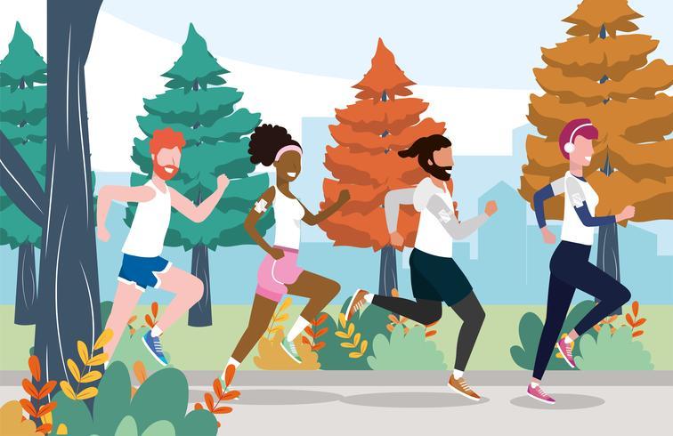 Männer und Frauen, die das Training draußen trainieren laufen lassen vektor