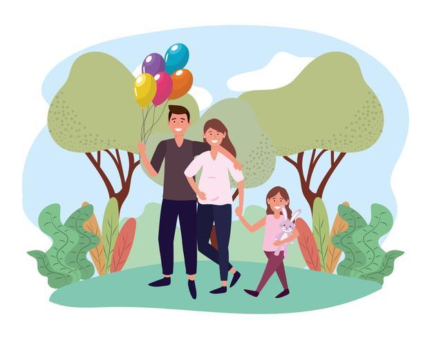 Söt förväntande par med dottern i park vektor