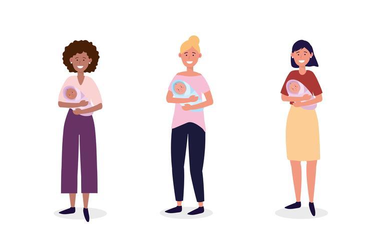 Uppsättning av kvinnor som håller nyfödda vektor
