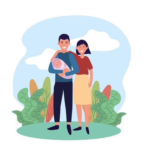 kvinna och man par med deras söta bebis vektor