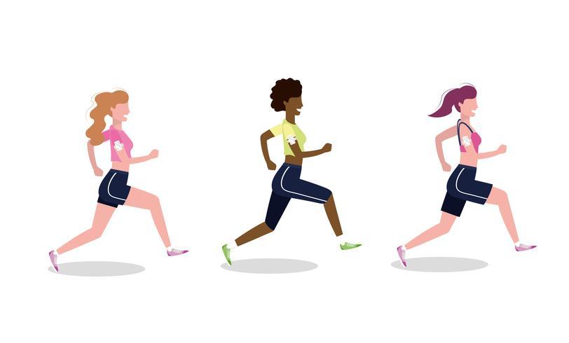 Uppsättning av kvinnor som övar löpning vektor