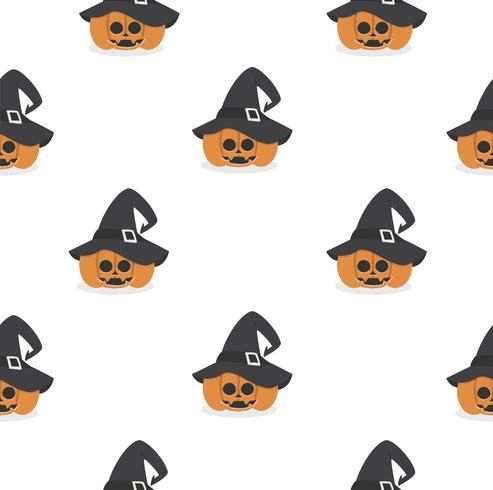 halloween pumpa bär häxa hatt mönster vektor