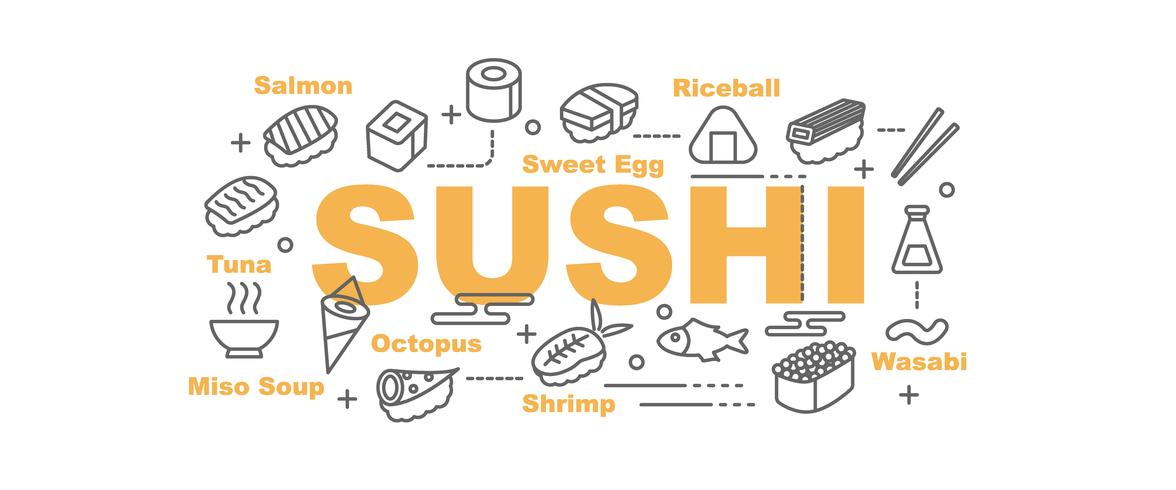 Sushi-Banner mit Linie Kunst Symbole vektor