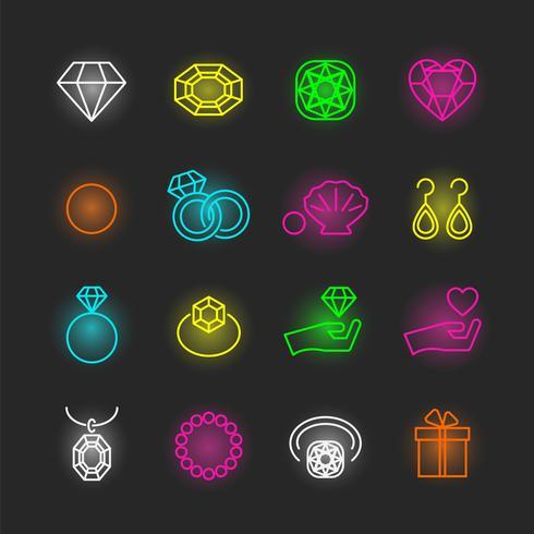 smycken neon Ikonuppsättning vektor