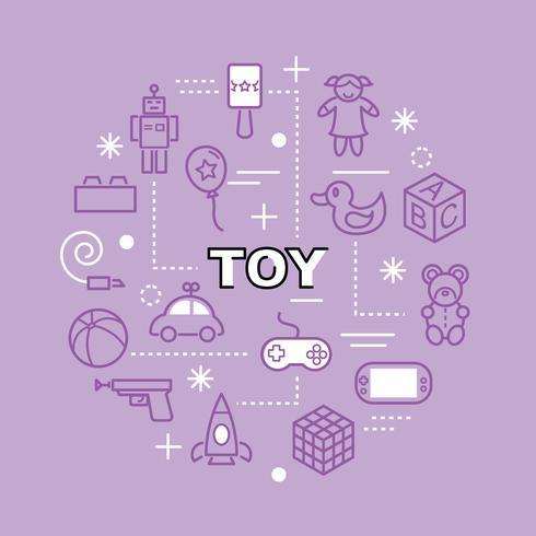 Spielzeug minimale Gliederung Symbole vektor