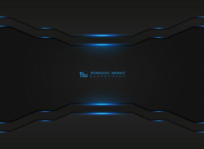 Mörk sexkantigt mönster med modern teknik med blå lasrar vektor
