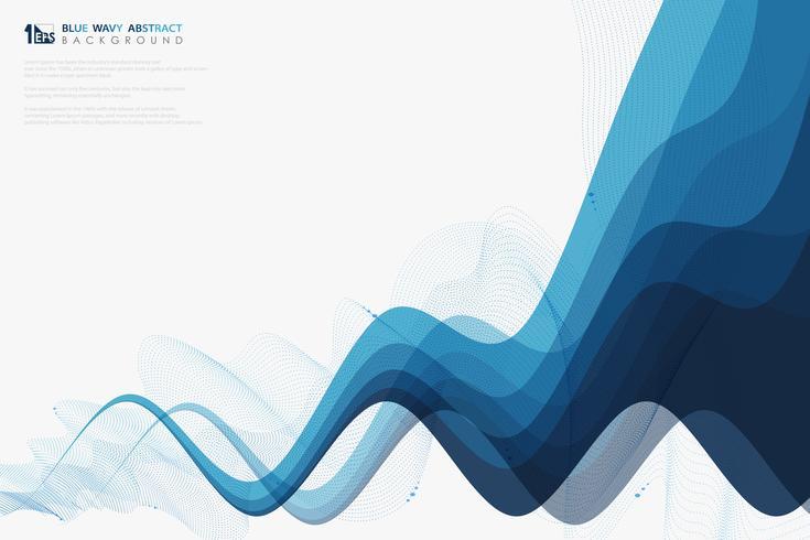 Abstrakt vetenskap blå vågig linje tech garnering vektor