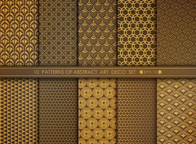 Abstrakt blomma stil antik av guld art deco uppsättning vektor