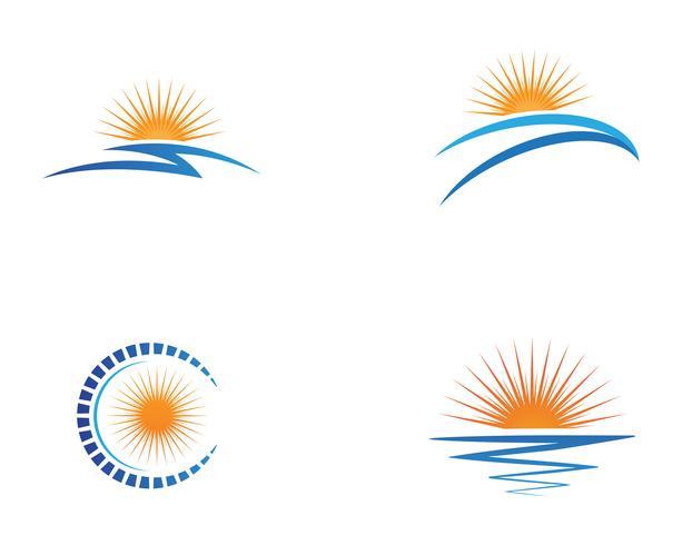 Mall Sun over horizon ikonuppsättning vektor