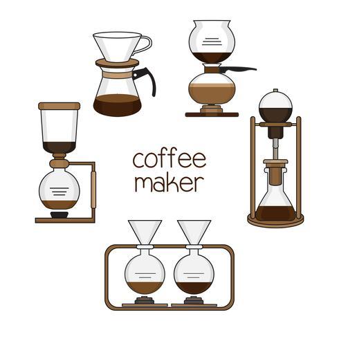 Set von Kaffeemaschinen vektor