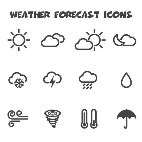 Wettervorhersage-Symbole vektor