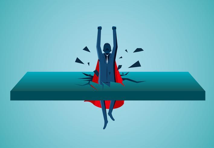 Superheld Geschäftsleute aus der Wand fliegen in den Himmel vektor
