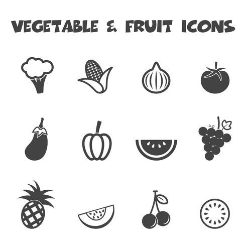 grönsaks- och fruktikoner vektor