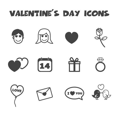 Valentinstag Symbole vektor