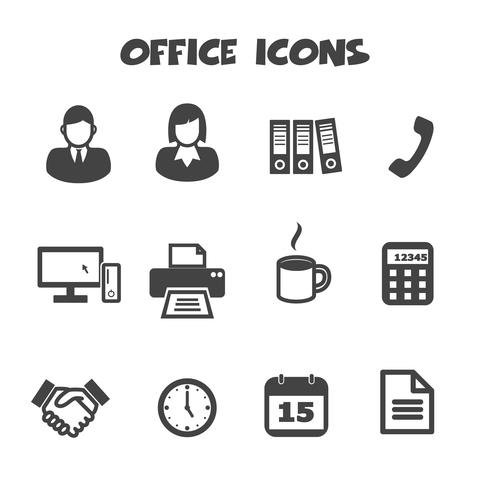 office ikoner symbol vektor