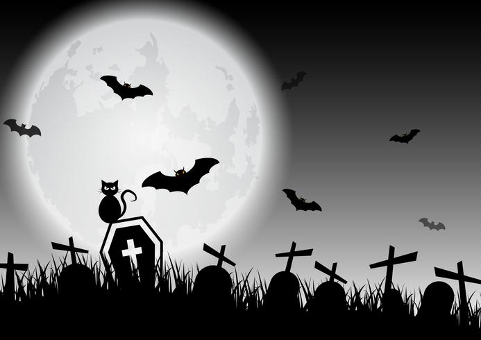 Gespenstischer Schwarzweiss-Halloween-Mond über Friedhof vektor
