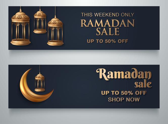 Ramadan-Laternen-Mond-Fahnen-Schablone vektor