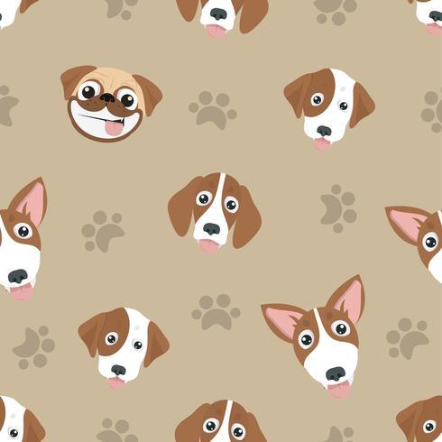 Olika söta hundar sömlösa mönster vektor