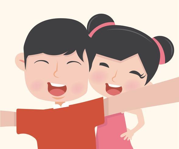 pojke och flicka som tar ett selfiefoto vektor