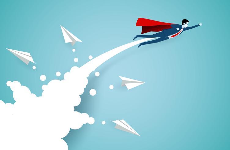 Erfolgreiche Superheldgeschäftsmänner, die in einer Luft durch Wolken fliegen vektor
