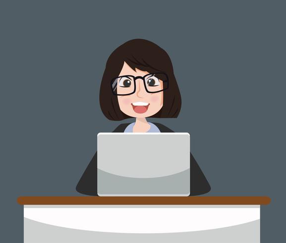 Affärskvinna som arbetar koncept vektor