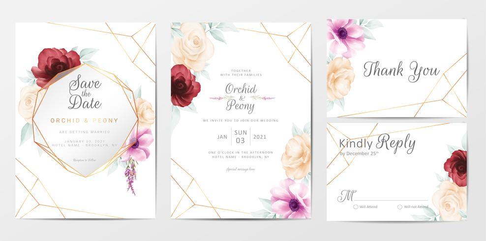 Hochzeitseinladungskarten-Schablonensatz mit Aquarellblumen vektor