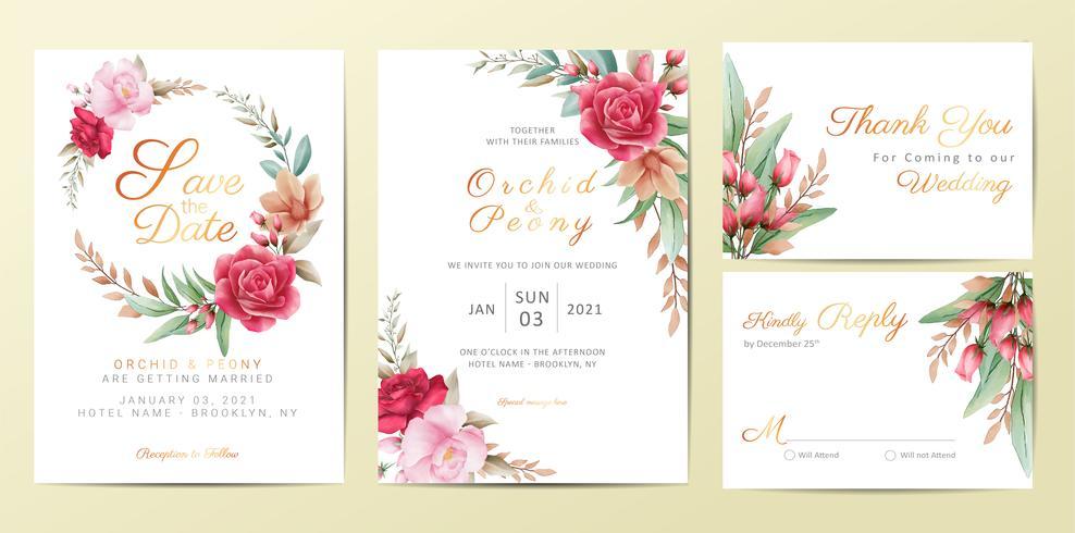 Uppsättning för mallar för bröllopinbjudankort med eleganta blommor vektor