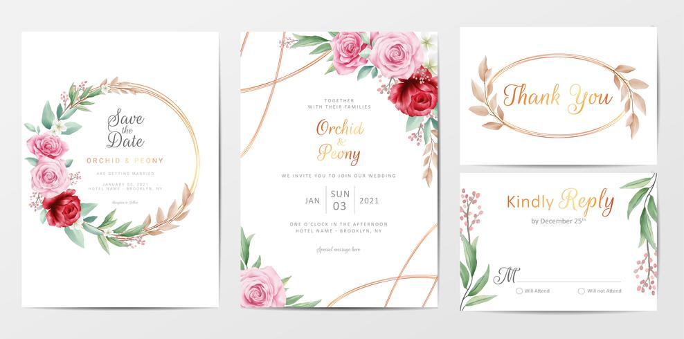 Elegant uppsättning för mallar för inbjudningskort för guld- blommor vektor