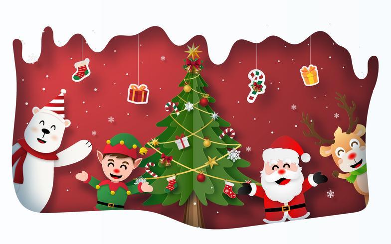 Julfest med jultomten och karaktär i snöram vektor