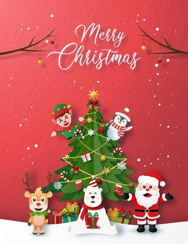 Pappersstil Merry Christmas Card vektor